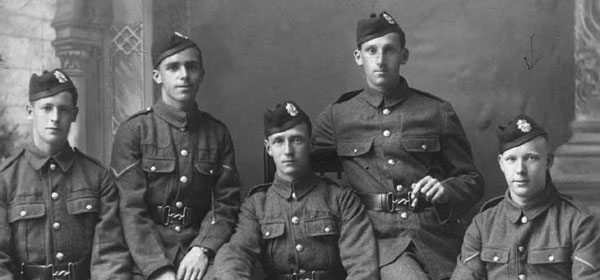 Robert Robertson (seated, right) and comrades; 1915 on leave