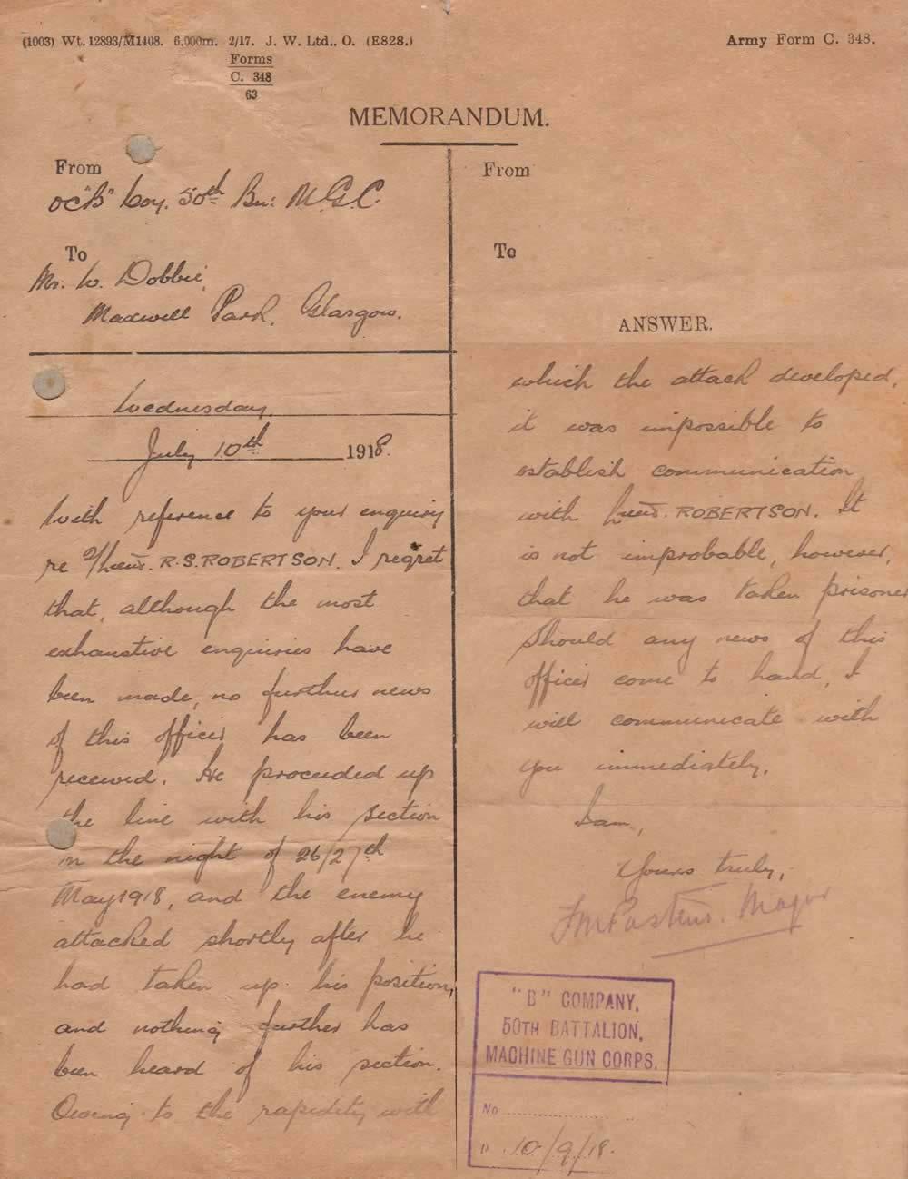 Missing In Action Letter